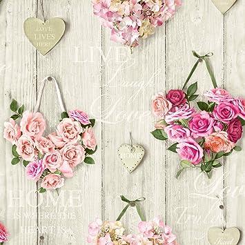 Rosen Tapete Blumen Bouquet Herzen Holz Panel Pink: Amazon.de: Küche ...