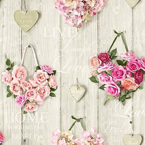 Roses Wallpaper Flower Floral Bouquet Hearts Wood Panel Pink