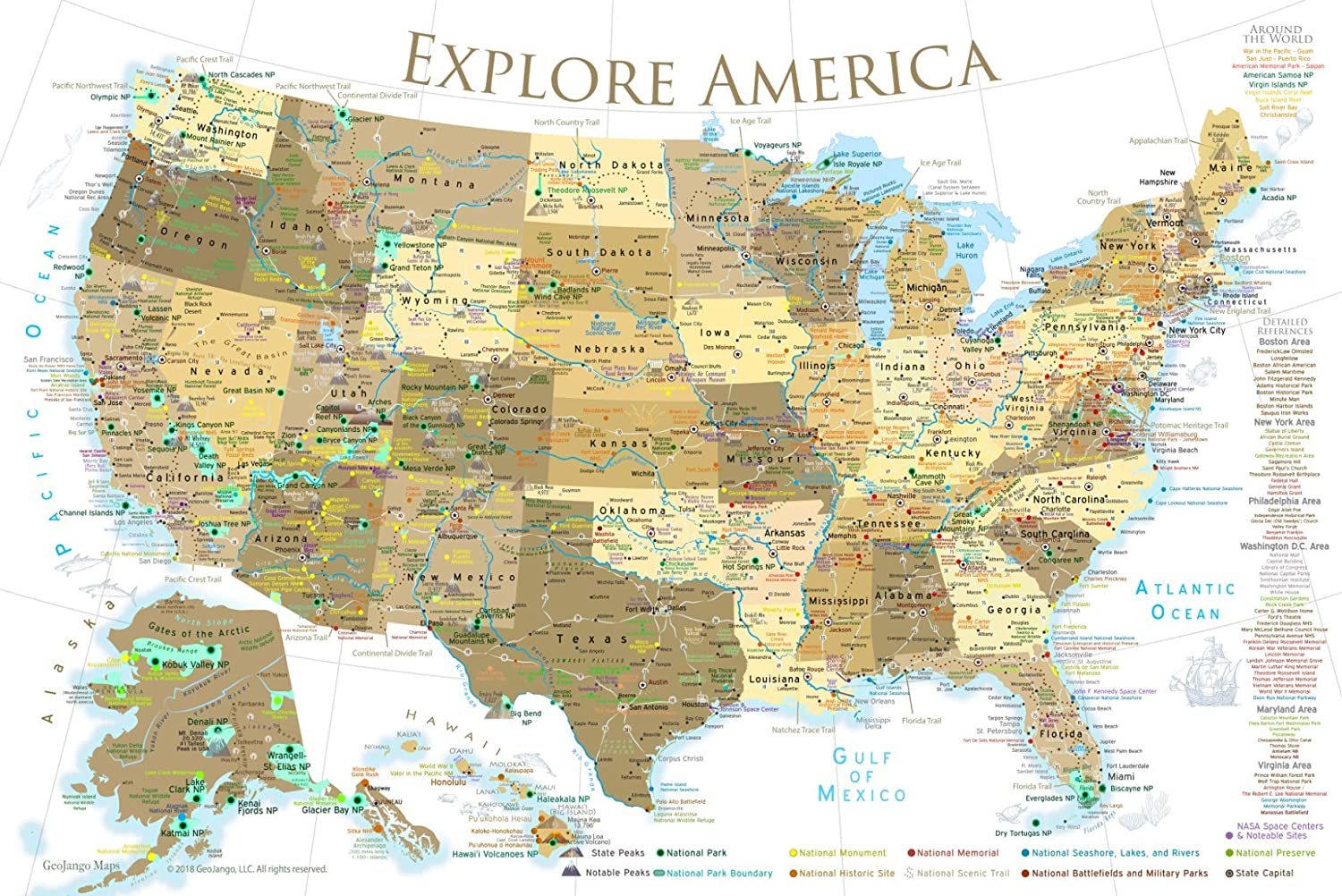 Map Of Arizona Destinations.Geojango National Parks Map Poster With Usa Travel Destinations Gold Edition 36w X 24h