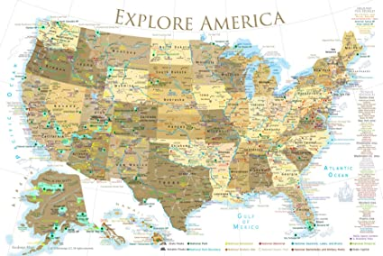 National Parks Map Of Usa.Amazon Com Geojango National Parks Map Poster With Usa Travel