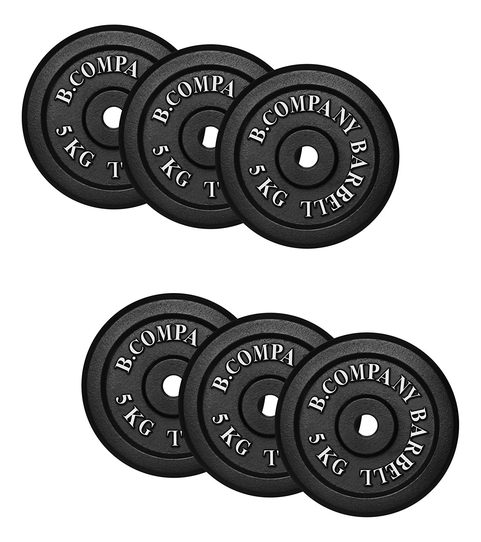 Bad Company I Hantelscheiben aus Gusseisen I Hantel Gewichte I 30 Kg (6 x 5,0 Kg), 30 31 mm