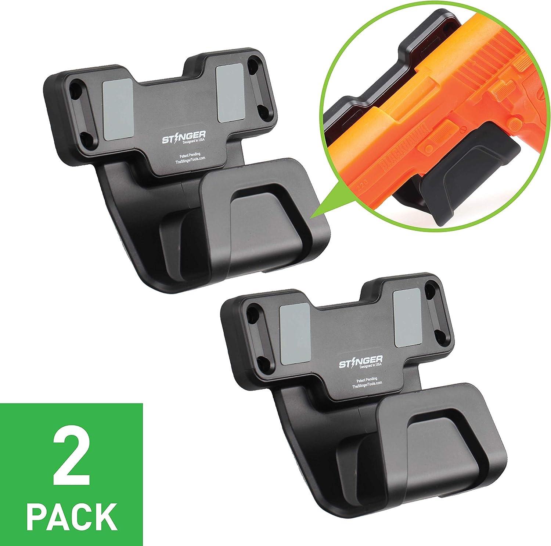 Stinger Gun Magnet Holder w/Safety Trigger Guard Protection, Magnetic Gun Mount & Holster for Handgun, Shotgun, Pistol, Revolver. Easy Conceal in Car, Truck, Vehicle, Desks, Safes, Walls.