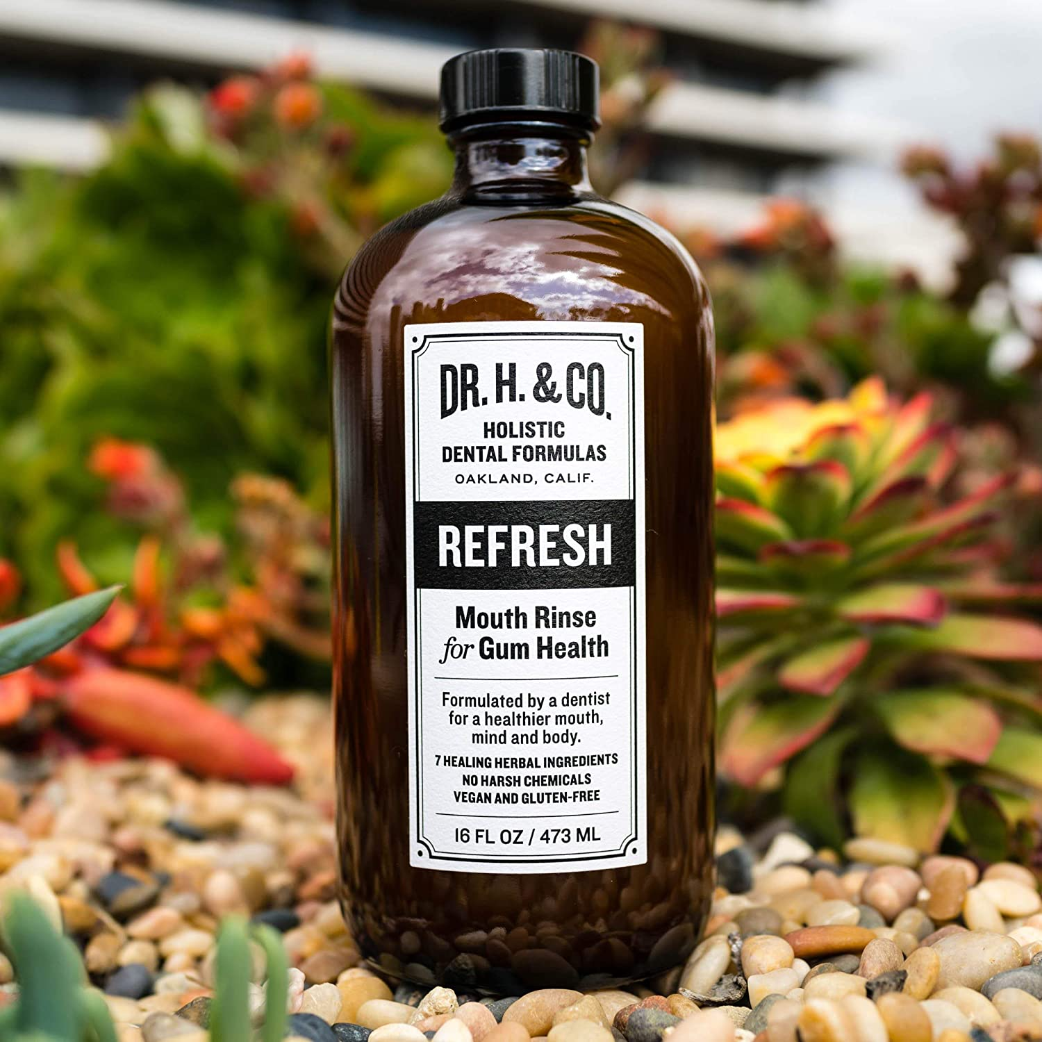 Dr  H  & Co  Dentist Formulated Refresh Mouthwash - All Natural Herbal and  Holistic Mouth Rinse for