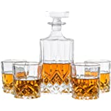 Emerson Decanter Set For Whiskey, Wine or Liquor. This LEAD FREE Irish Cut Bar Set Includes a 700 ml Decanter with 4 Matching Glasses