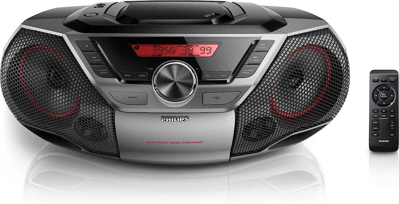 Philips AZ700T/12 - Microcadena (2W, estéreo), Negro
