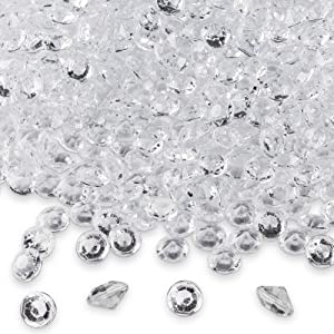 Diamond Table Confetti, Vase Filler, Party Decorations for Weddings, Bridal Shower, Birthdays, Home, and more. 2000 Pack of 1 Carat 6.5mm Jewels (Clear) by Super Z Outlet