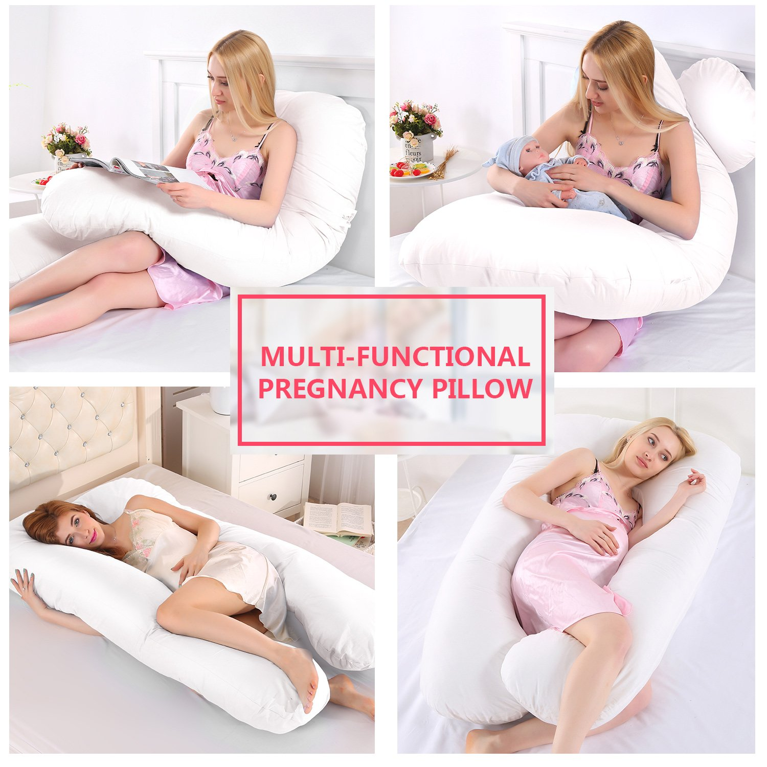 Pregnant Full Body Pillow U Shaped Maternity Pillow Nursing Cushion with Washable Cover White Ylovetoys Pregnancy Pillow