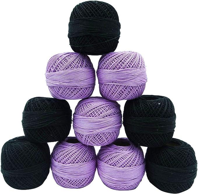 IBA Indianbeautifulart 10 Piezas Negro púrpura del Hilado del Hilo de la madeja de algodón Mercerizado Tatting Ganchillo Que Hace Punto: Amazon.es: Hogar