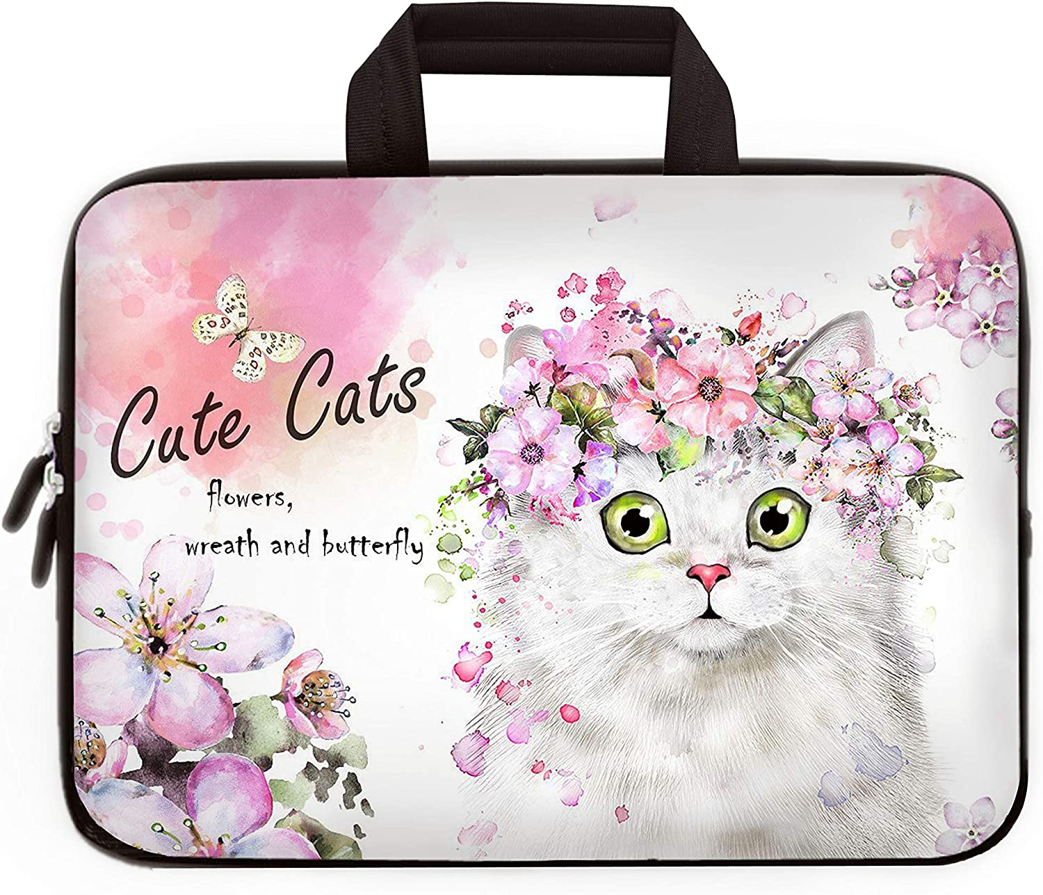 """hdaba 14"""" - 15.6"""" Inch Laptop Sleeve Case Protective Bag Carrying Case with Handle for 14-15.6 Inch Laptop Compatible with Chromebook 15 HP Pavilion Toshiba Dell (14"""" 15"""" 15.4"""" 15.6"""" inch, LP15-Cat)"""