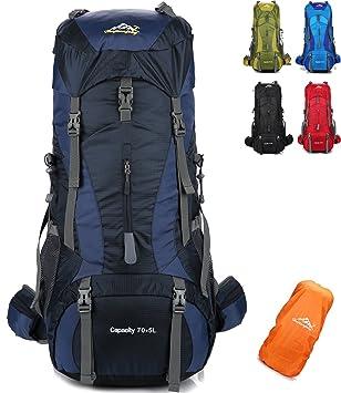 onyorhan 70L+5L Mochila Viaje Trekking Excursionismo Senderismo Alpinismo Escalada Camping Hombre Mujer (Azul Marino): Amazon.es: Deportes y aire libre