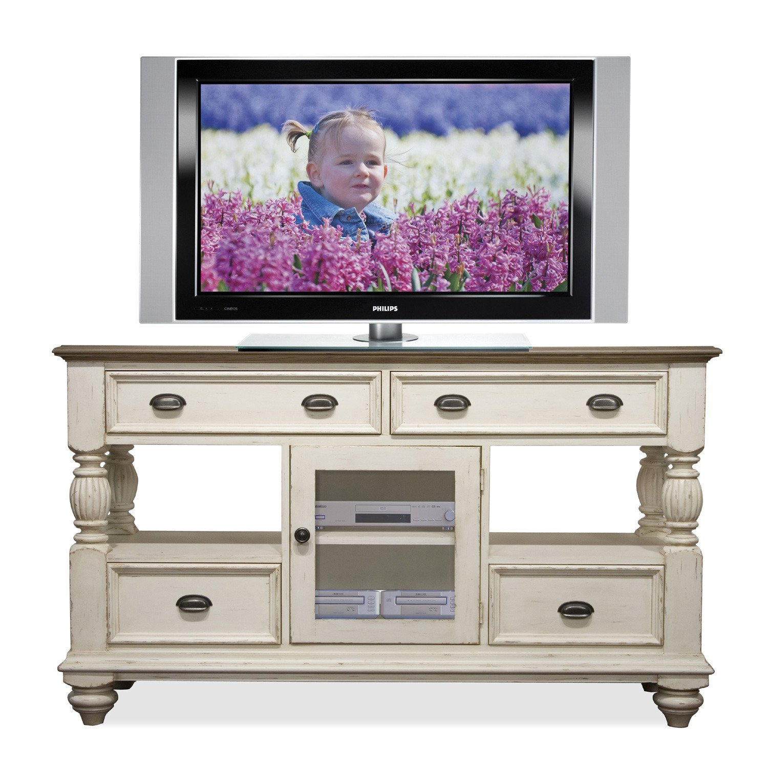 Amazon.com: Riverside Furniture Coventry Two Tone Tall TV Console In Dover  White: Kitchen U0026 Dining
