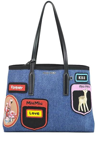 96a9b988c1be Miu Miu Women s Mcglbre03038e Multicolor Denim Shoulder Bag  Amazon.ca   Clothing   Accessories