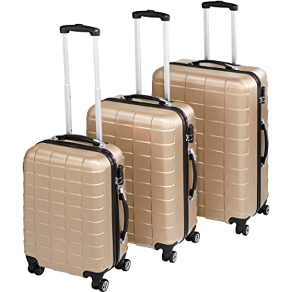 TecTake Set 3 Piezas Maletas ABS Juego de Maletas de Viaje Trolley Maleta Dura | 4 Ruedas de 360º | 2 Mangos y un asa telescópica (Champán | no. ...