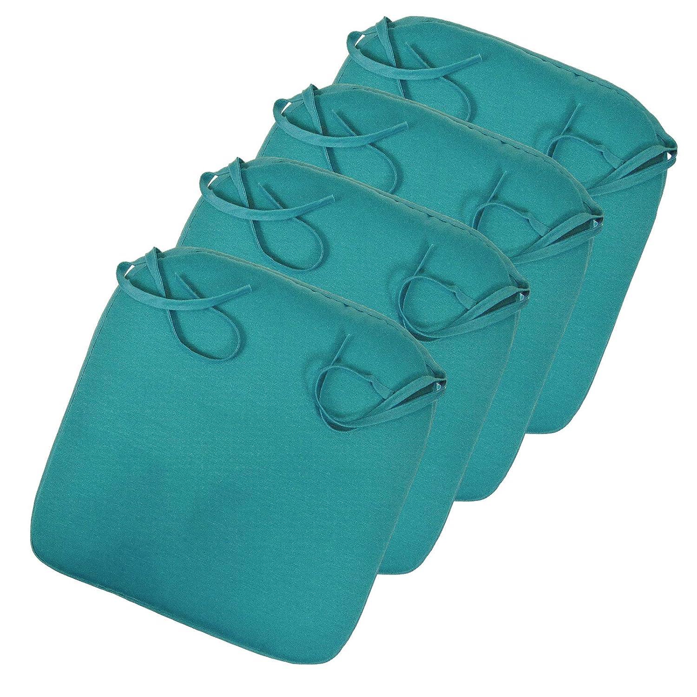 Sitzkissen Stuhlkissen für Gartenmöbel mit Bänder versch. Farbwahl 42x42 cm aus 100% Polyester
