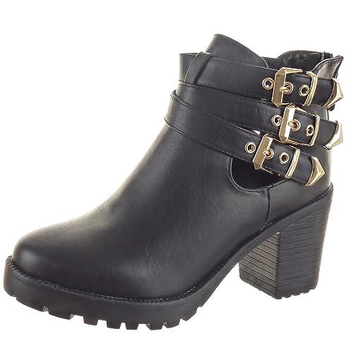 Sopily - Zapatillas de Moda Botines Low boots Abierto Tobillo mujer Sexy tanga Hebilla Talón Tacón ancho 8 CM - Negro FRF-LG06 T 41: Amazon.es: Zapatos y ...