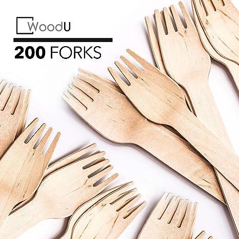 Amazon.com: Tenedores de madera desechables, 6 pulgadas de ...