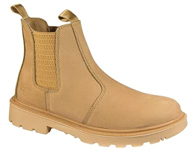 378d93a4d54873 Grafters. Mens Safety Work Boots Tan Brown Leather Dealer Slip On  Lightweight (6)
