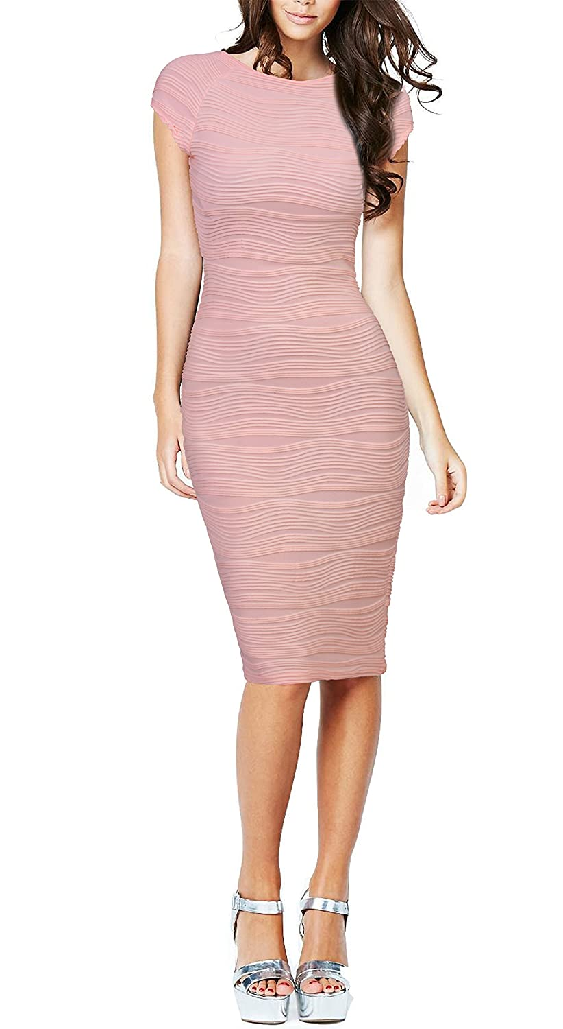 REPHYLLIS Women's Casual Boat Neck Slim Bodycon Business Party Work Pencil Dress RE60033