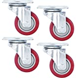 Finnhomy Casters 3'' Wheels 4 Pack Swivel Plate Casters Premium Polyurethane Wheels PU Load Bearing 1,200 Lbs Anti-wear Smooth Casters Red