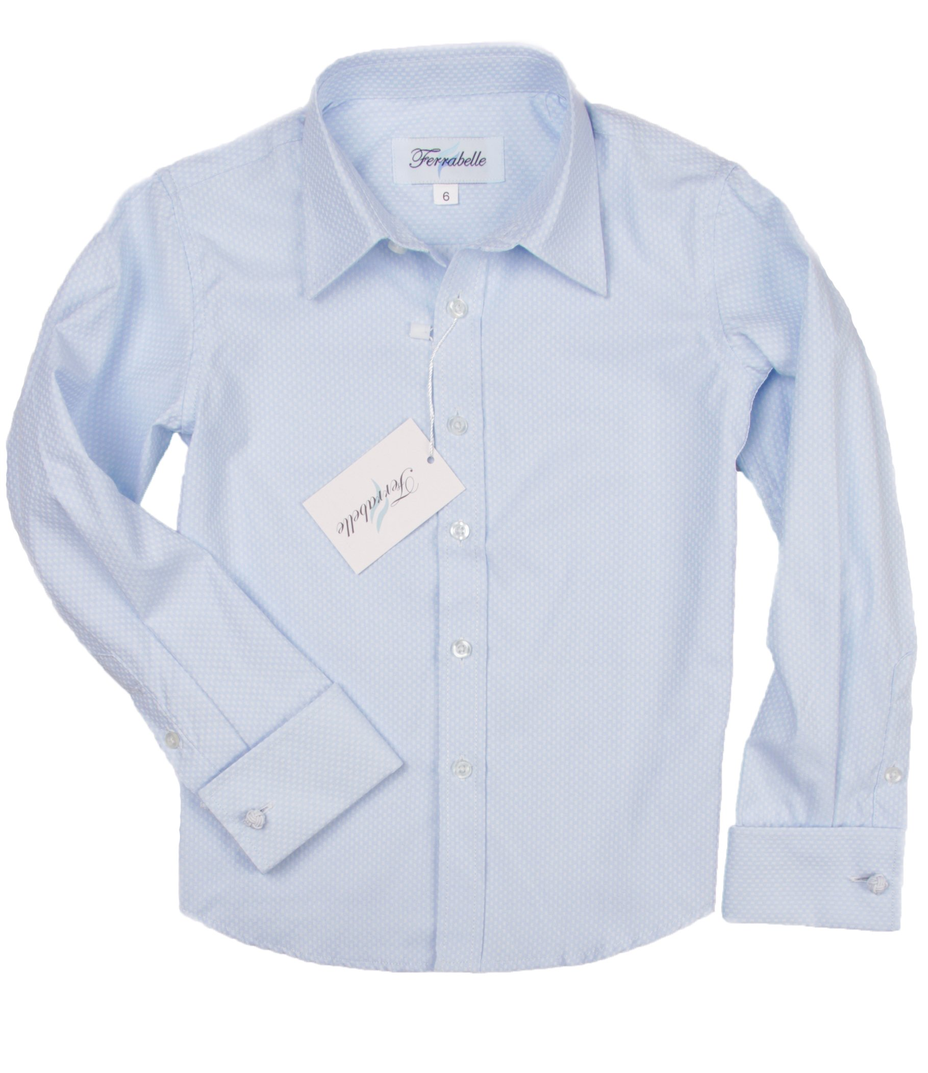 Boys Shirts For Suit Formal Dress Button Down Long Sleeve With French Cuff and Cufflinks Blue 7