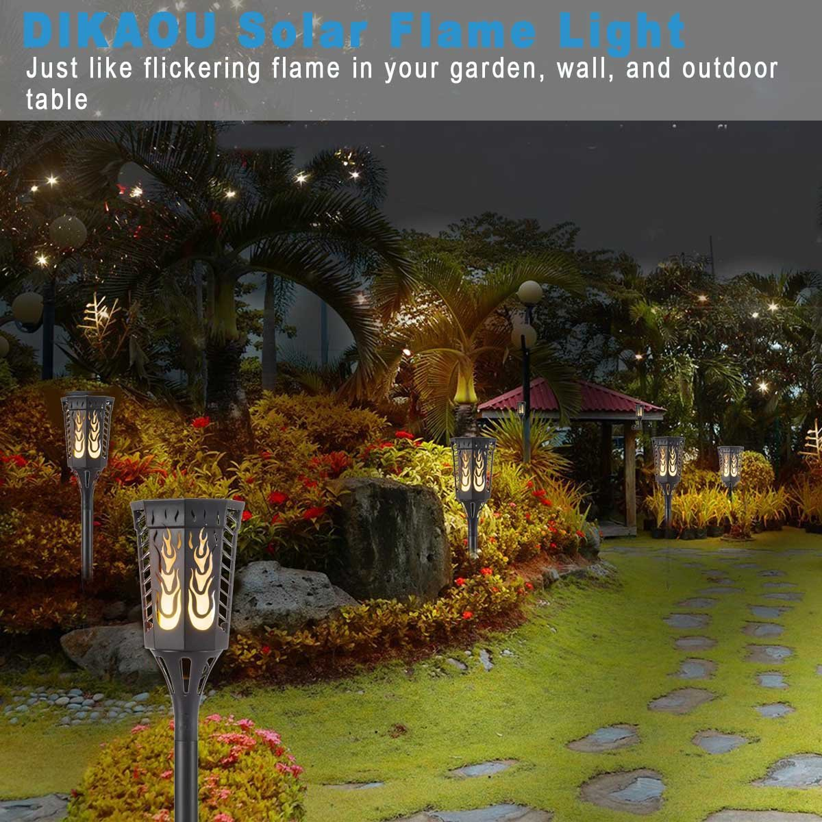 Solar Garden Light, Flame Solar Decorative Light Flames Torches ...