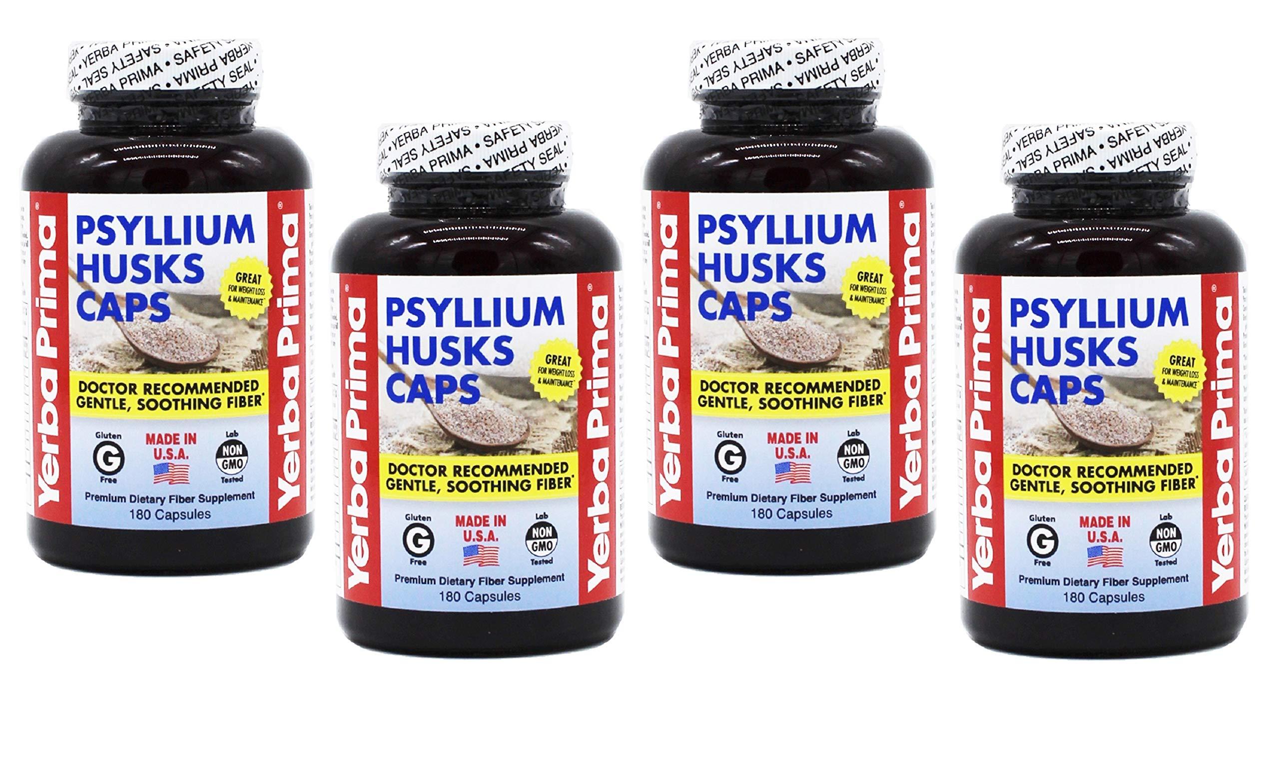 Yerba Prima Psyllium Husks Caps for Regularity and Heart Health, 180 Capsules (Pack of 4) by Yerba Prima