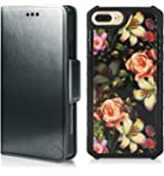 Apple iPhone 7 Plus / iPhone 8 Plus Case , Magnetic Detachable 2 in 1 Wallet Case, PU Leather Wallet Folio & Removable Air Cushion Case with Marble Pattern Tempered Glass Cover Back - Black / Flower