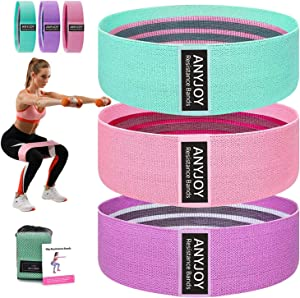 ANYJOY Resistance Bands for Women Butt and Legs, Fabric Exercise Bands , Thick Wide Non-Slip Workout Bands, Women/Men Stretch Booty Band 3 Set Leg Weights for Exercise