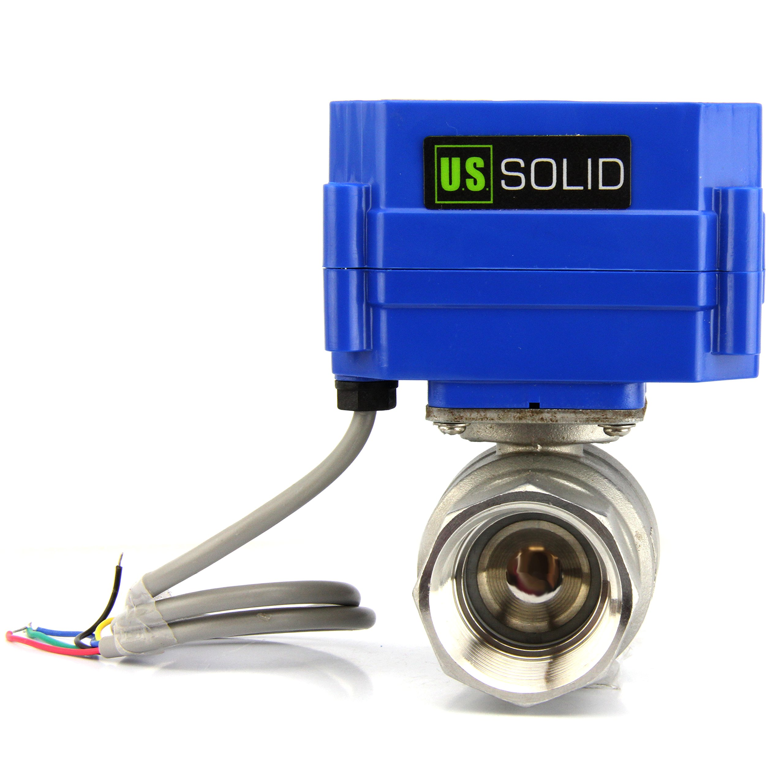 Motorized Ball Valve- 1'' Stainless Steel Electrical Ball Valve with Full Port, 9-24V DC and 5 Wire Setup, can be used with Indicator Lights, [Indicate Open or Closed Position] by U.S. Solid