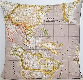 Vintage Map Cushion Cover Beige Pillow Case Fabric Old Atlas Maps - Map asia us uk australia