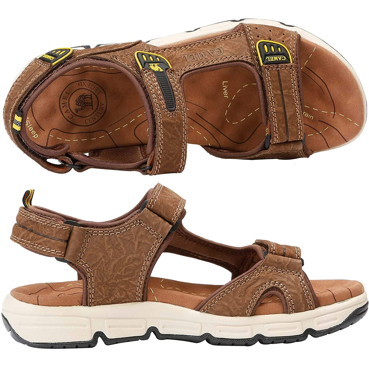 ce1c9a3d67e CAMEL CROWN Lightweight Leather Sandals Men Strap Athletic Shoes Hiking  Sandals Walking Beach Outdoor Summer