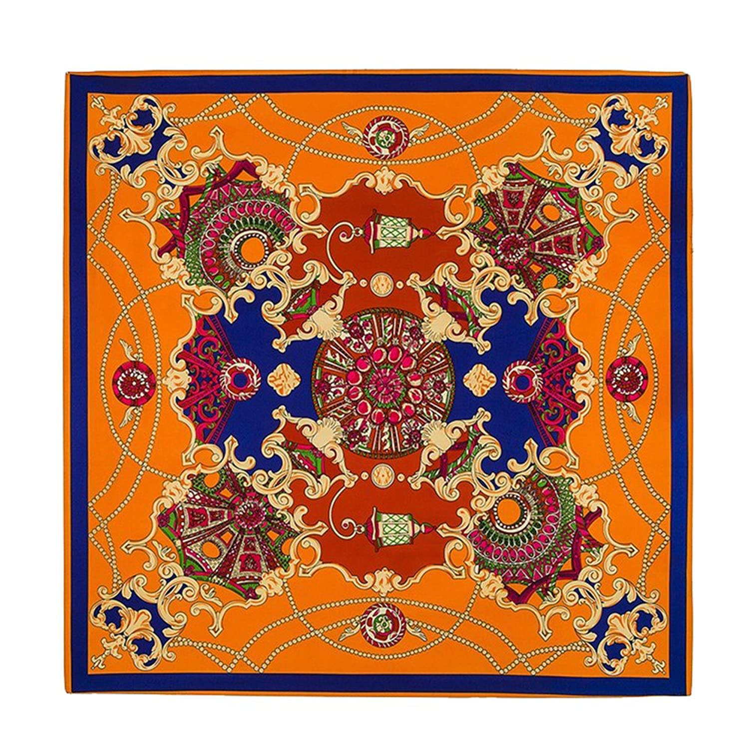Fashion French Design Sky The Palace Garden Printed Silk Scarf (Orange)