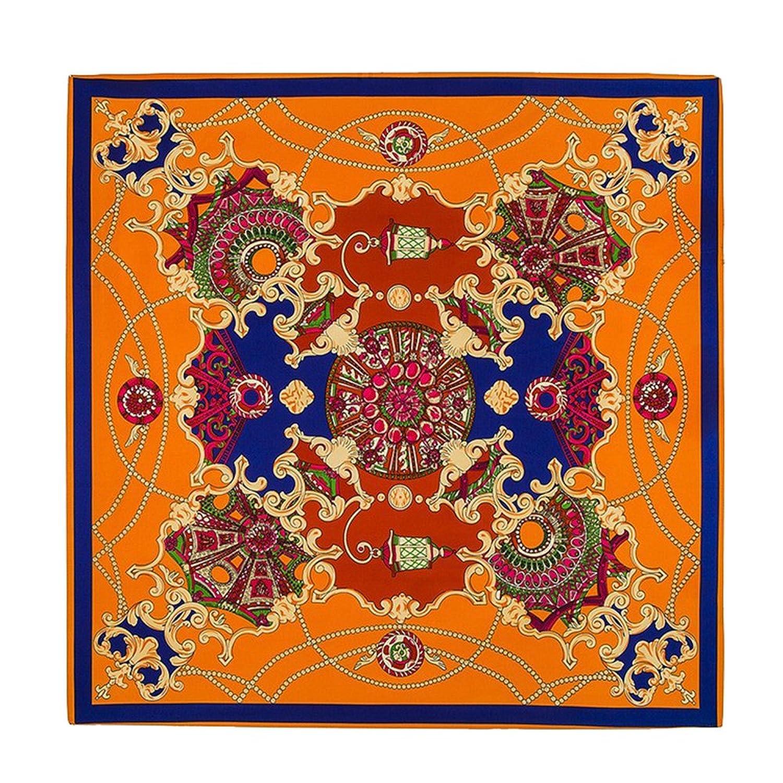 Fashion French Design Sky The Palace Garden Printed Silk Scarf (Orange)
