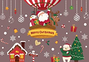 VOKUA 243PCS Christmas Window Clings Snowflake Stickers Decorations for Glass, DIY Static Stickers Santa Claus Elf Decals Decorations for Home and Shop - 4 Sheet