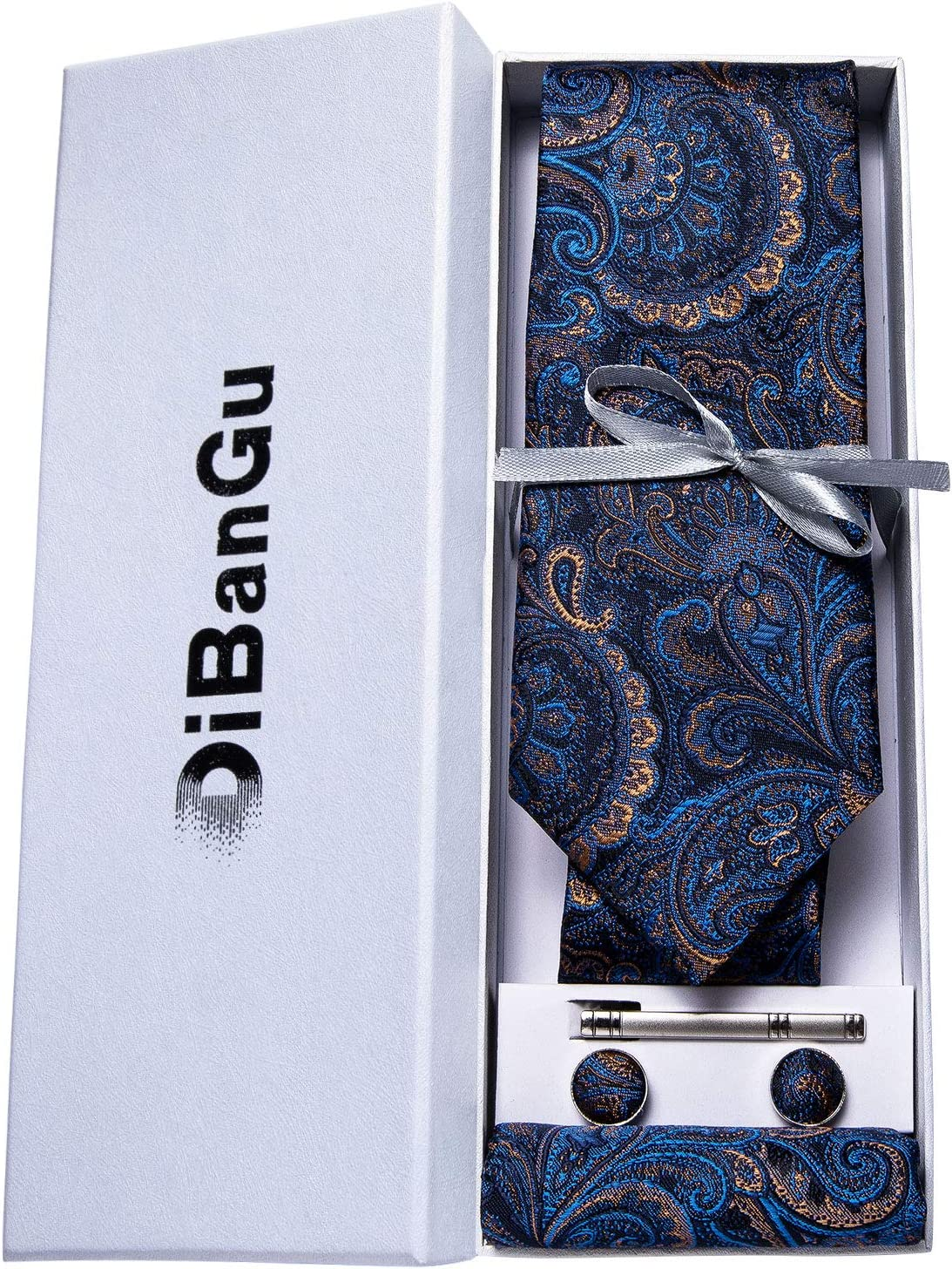 Blue and Brown DiBanGu Formal Paisley Necktie and Tie Clip Set for Men Silk Pocket Square Cufflinks with Gift Box