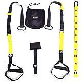 Honda Trainer Set + puerta ancla + trabillas Soporte:: Amarillo–Negro:: Fitness Workout en cualquier puerta:: Bonus S de libros + Póster con ejercicios:: 3años de garantía