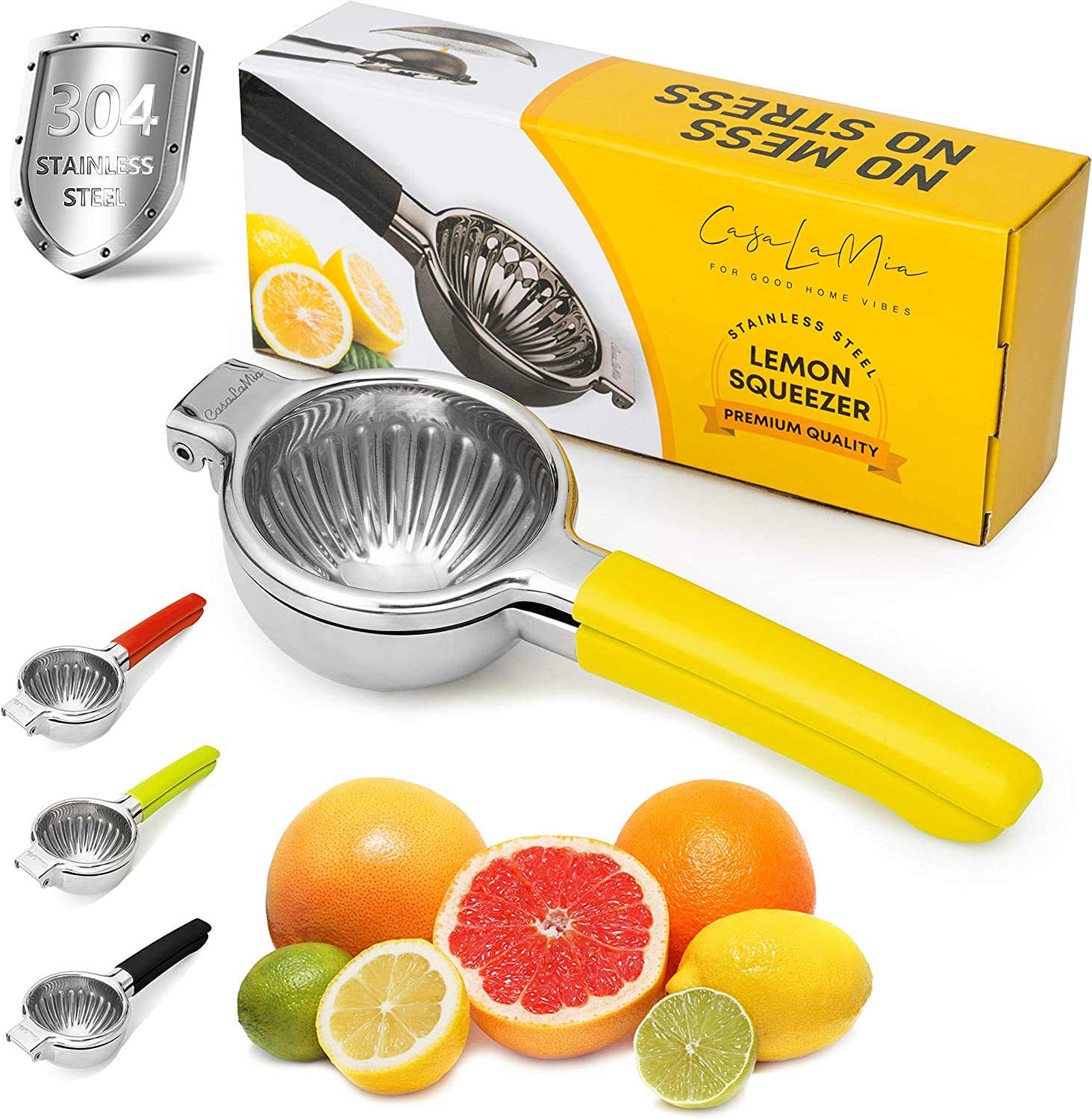 CasaLaMia Lemon Squeezer Citrus Juicer - Manual Juicer Hand Press and Lime Squeezer Stainless Steel for Extracting Lemon Limes Tangerine, and Pomegranate Juice Easy