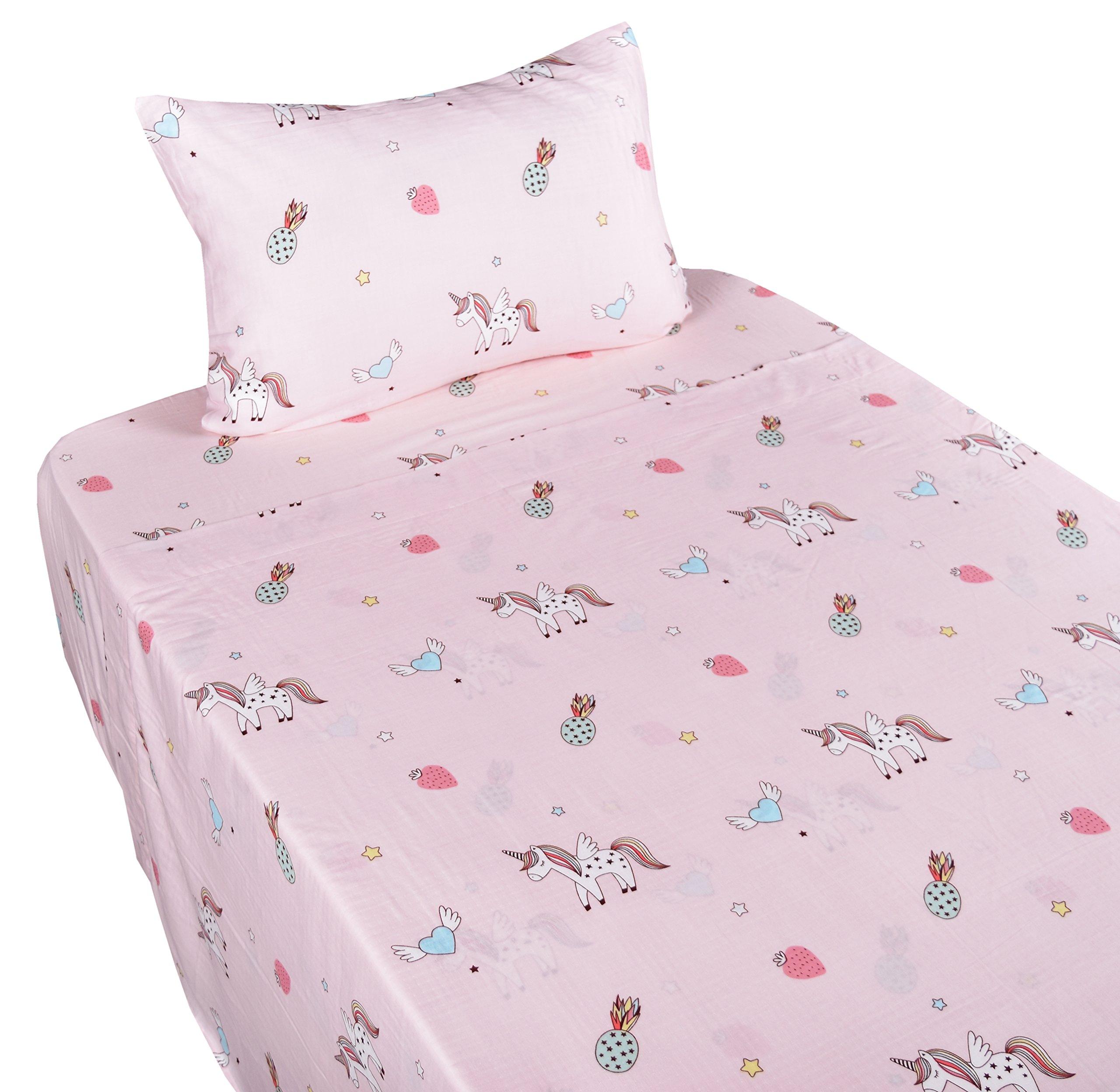 J-pinno Unicorn Happy Girls Pink Muslin Cotton Bed Sheet Set Twin, Flat Sheet & Fitted Sheet & Pillowcase Natural Hypoallergenic Bedding Set (16, Twin)