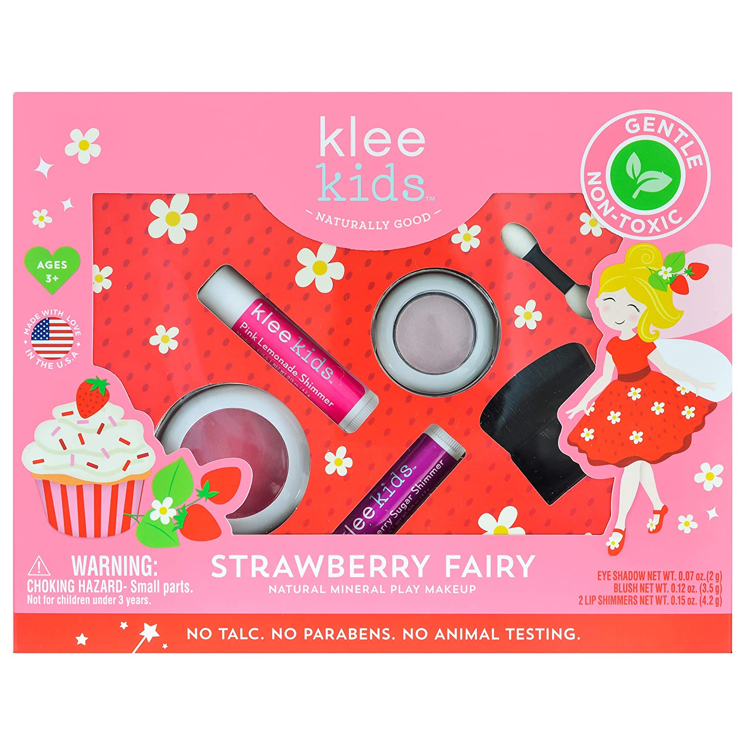 Strawberry Fairy – Klee Kids Natural Mineral Makeup 4 Piece Kit with Pressed Powder Compacts. Non-Toxic. Made in USA.