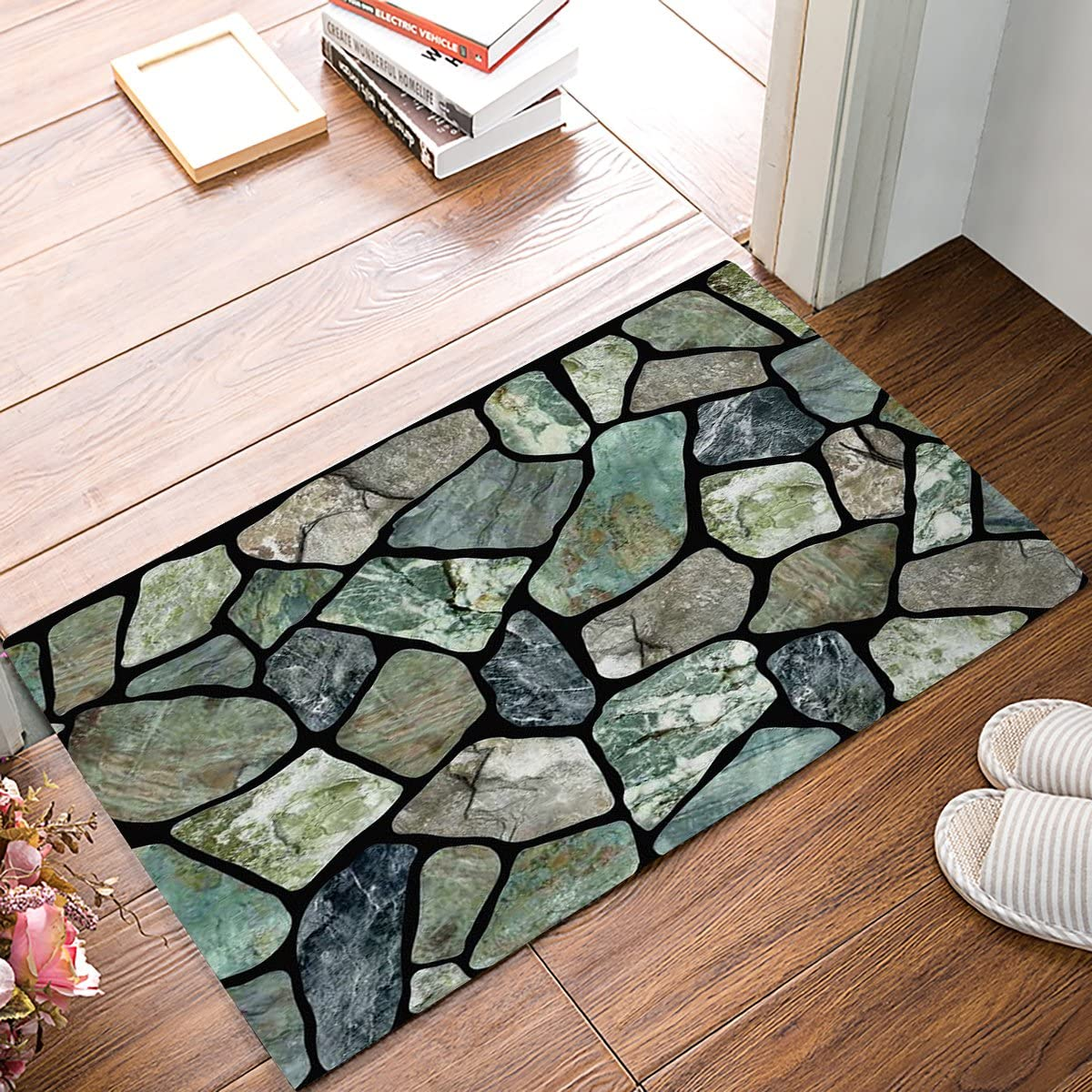 HomeCreator 32 x 20 Inch Flagstone Green Grey Marble Stone Door Mats Kitchen Floor Bath Entryway Rug Mat Absorbent Indoor Bathroom Decor Doormats Rubber Non Slip
