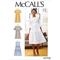 McCall's Patterns McCall's Women's Knee Length Pleated Dress, Sizes 6-14 Sewing Pattern, White