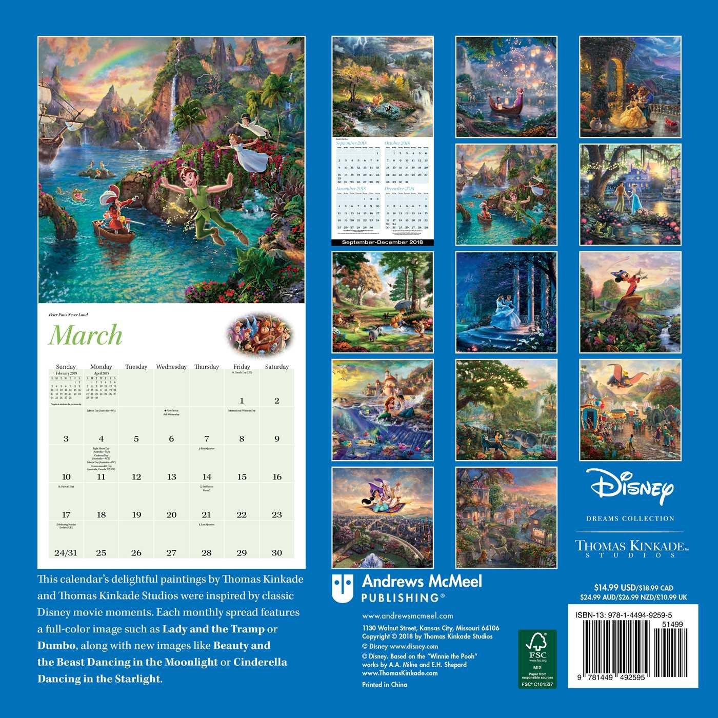 Disney 2019 Calendar Amazon.com: Thomas Kinkade Studios: Disney Dreams Collection 2019