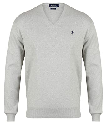 best website bd671 ac65c Ralph Lauren Polo Herren V-Neck Pima Cotton Hellgrau
