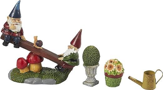 adornos de jard/ín para exteriores dise/ño de gnomos en miniatura Juvale Juego de 7 figuras decorativas de jard/ín