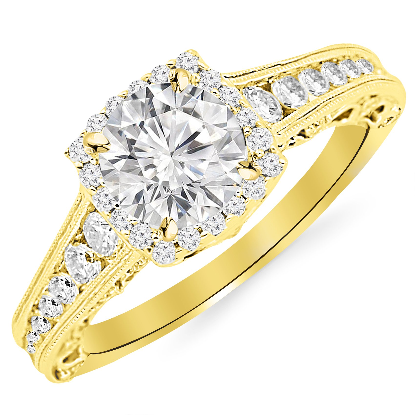 2.25 Carat 14K Yellow Gold Vintage Halo Style Channel Set Round Brilliant Diamond Engagement Ring Milgrain with a 1.5 Carat Moissanite Center
