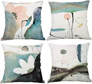 YeeJu Set of 4 Lotus Plant Decorative Throw Pillow Covers Cotton Linen Square Cushion Covers Outdoor Couch Sofa Home Pillow Covers 24x24 Inch