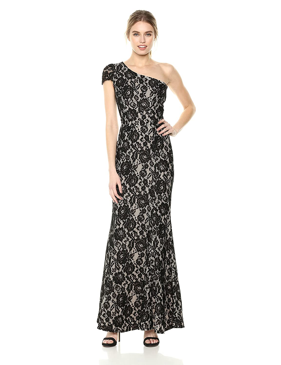 Black   Nude Dress the Population Womens Valentina Lace Cap Sleeve One Shoulder Long Dress Special Occasion Dress