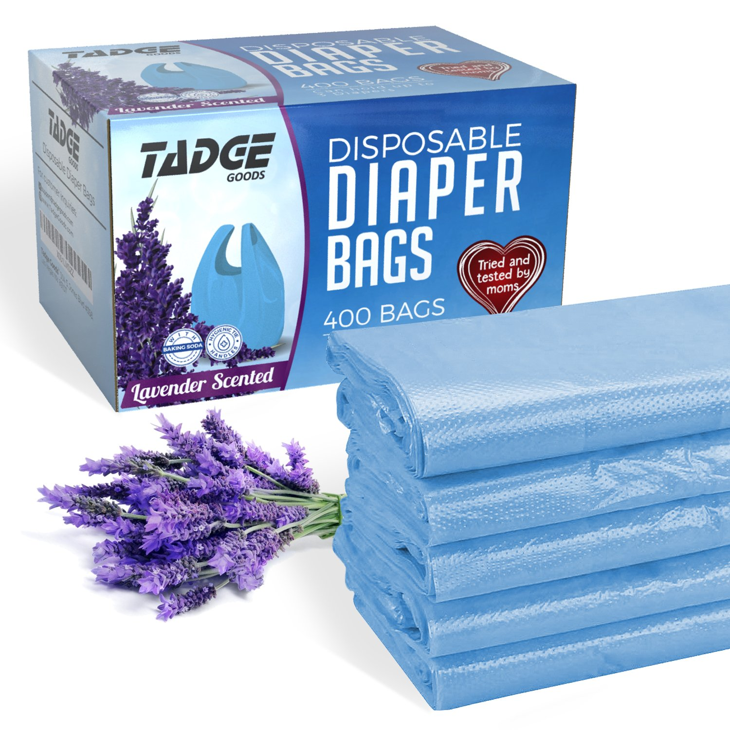 Tadge Goods Baby Disposable Diaper Bags – 100% Biodegradable Diaper Sacks with Lavender Scent & Added Baking Soda to Absorb Odors - 400 Count (Blue)