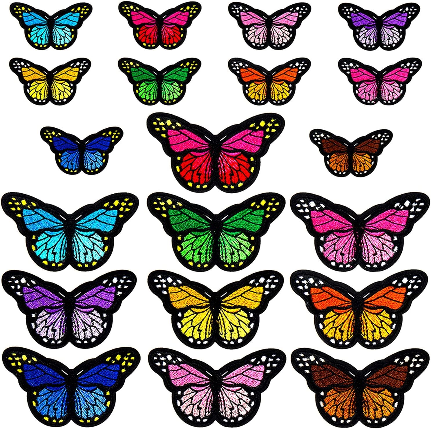 12 Pieces Butterfly Iron on Patches Embroidery Applique Patches for Arts Crafts