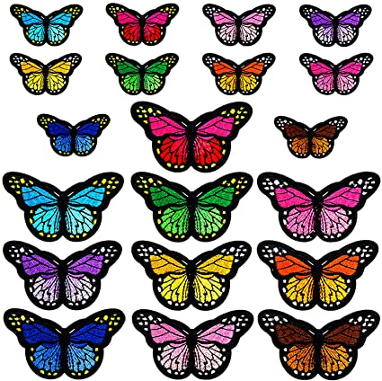 Sopito 46pcs Embroidered Sew Applique Repair Patch for Arts Crafts or DIY Decoration 2 Size Butterfly Iron on Patches